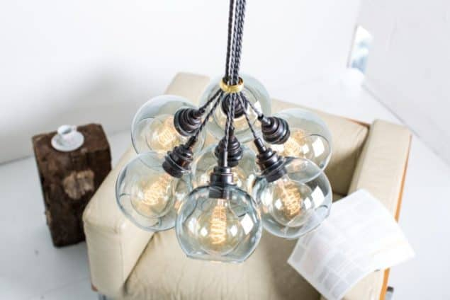 Mushroom designs Totnes Devon atom spot grey glass chandelier