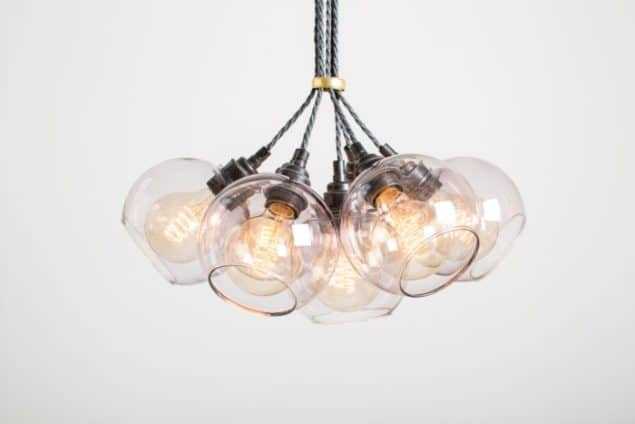 Mushroom designs Totnes Devon atom spot purple glass chandelier