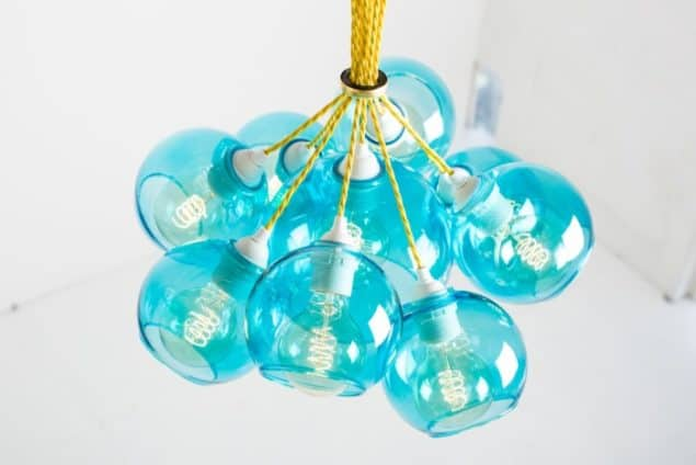 Mushroom designs Totnes Devon mega atom turquoise glass chandelier