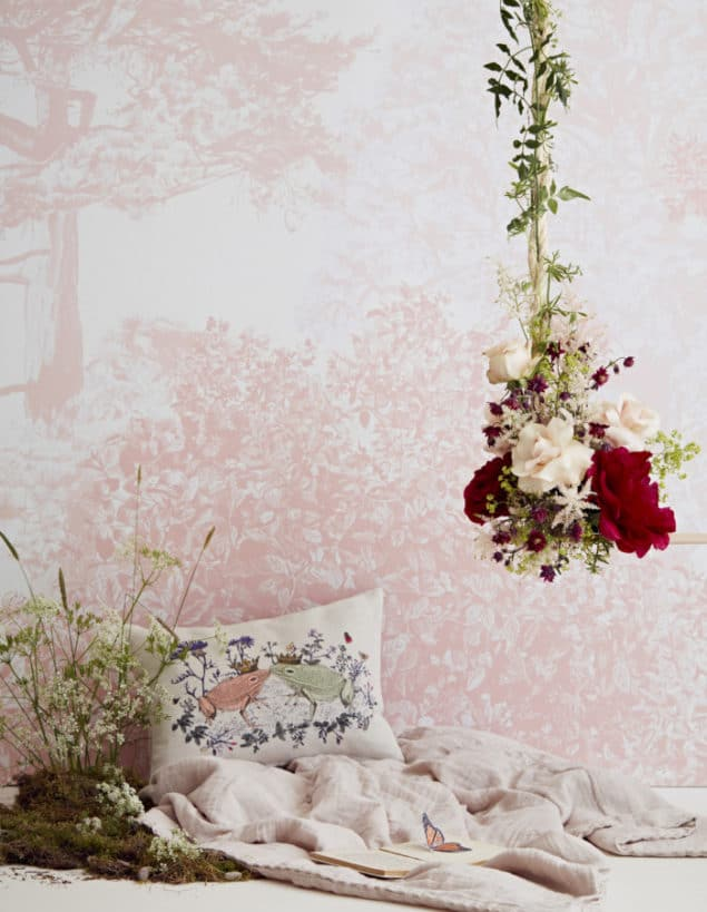sian zeng hua trees wall mural in pink close up