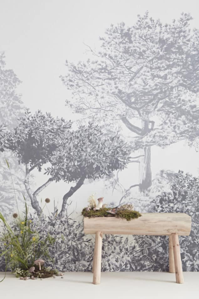 sian zeng hua trees wall mural in grey with mushrooms bench