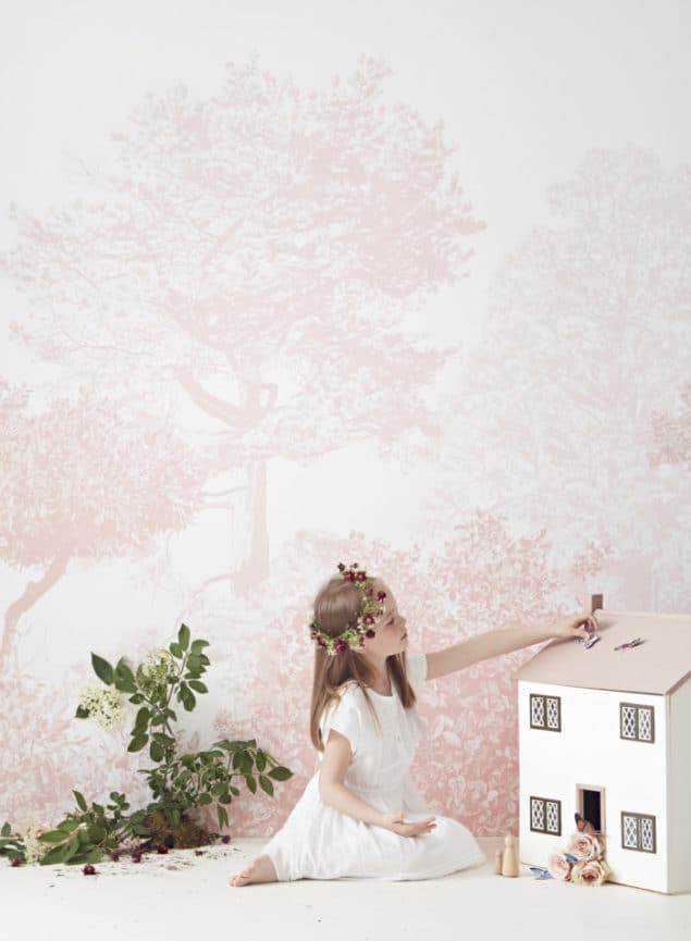 sian zeng hua trees mural in pink with girl