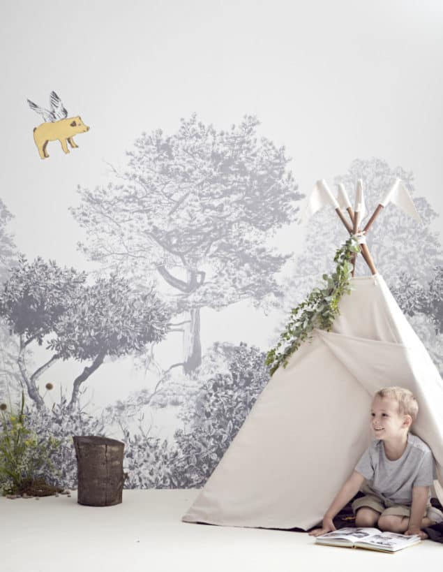 sian zeng hua trees wall mural in grey with tipi and boy