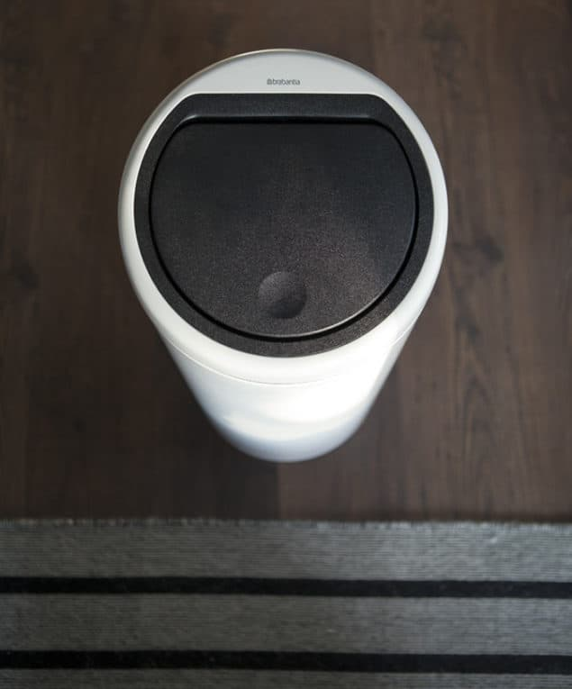 brabantia white touch bin as seen from above