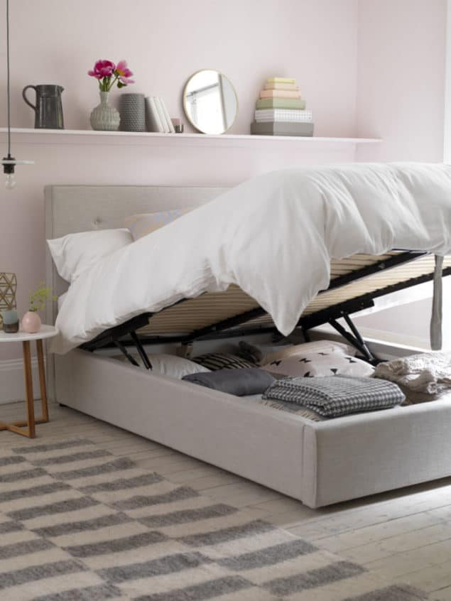 Button & Sprung Poppy king size ottoman bed in Linen £1325