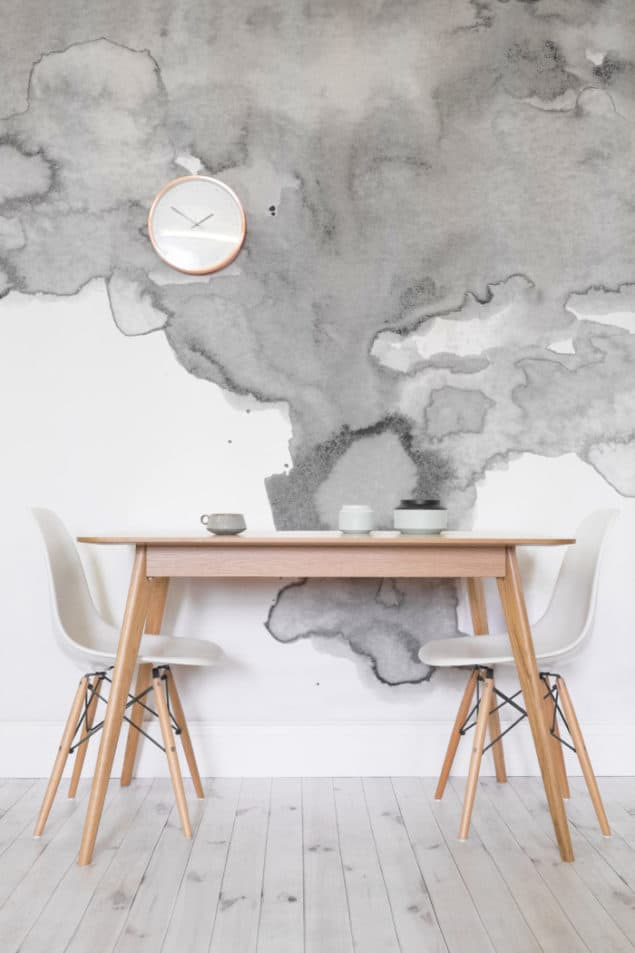 Grey Watercolour Wallpaper from Murals Wallpaper