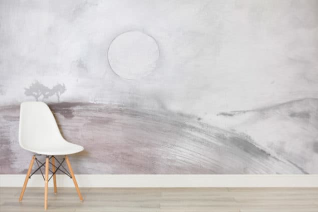Louise Body Murals Wallpaper - Landscape soft pink watercolour wallpaper