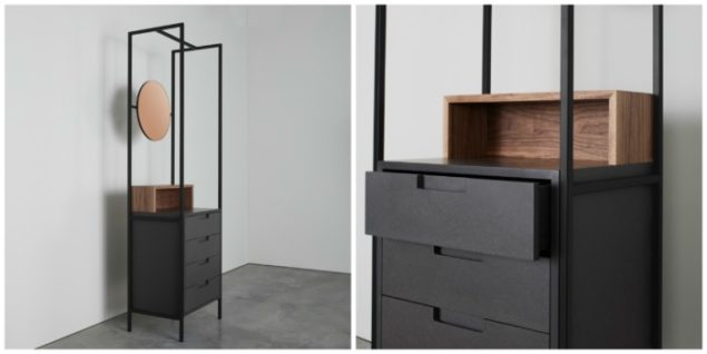 [MannMade London] Battersea collection, Alexandra shelving unit with mirror, dark, closeup, £1475