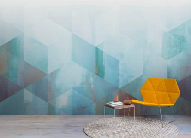 Newmore Watercolour Wallpaper in Geometric blue fade