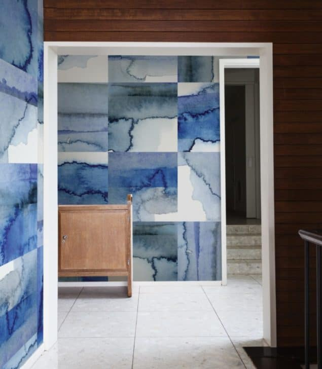 Newmore Watercolour wallpaper in Tile Original Blues