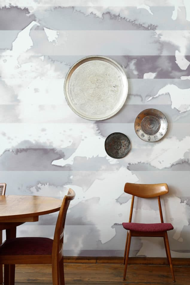 Newmore watercolour wallpaper in stripe pale