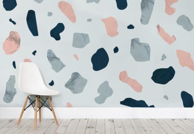Pink and Blue Terrazzo Wall Murals from Murals Wallpaper