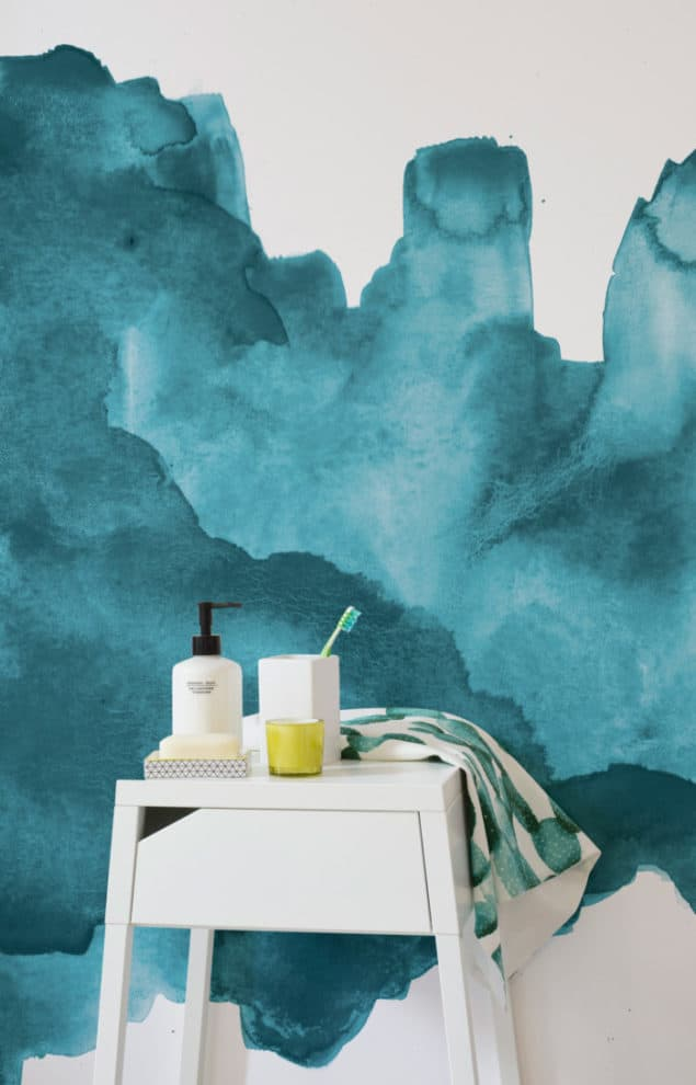Teal Watercolour Wallpaper from Murals Wallpaper