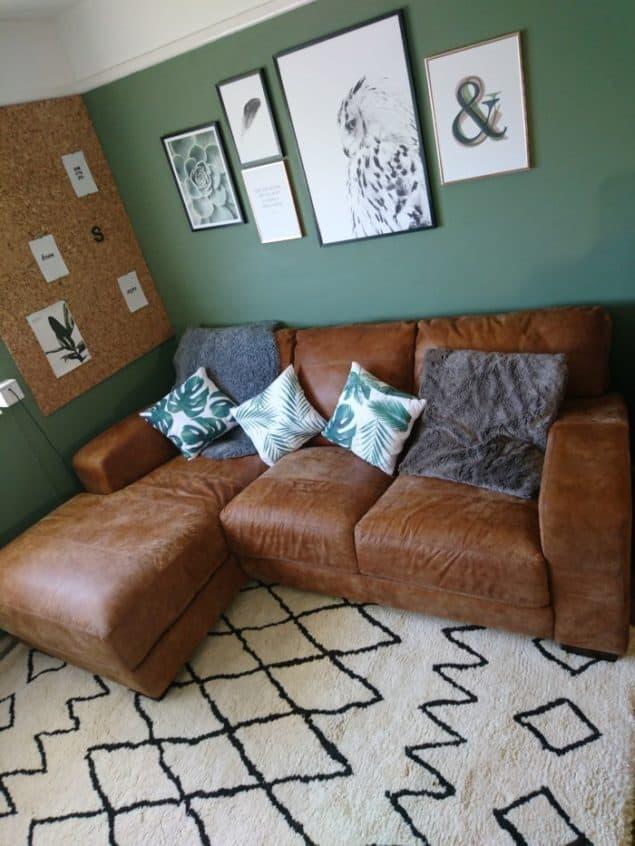 Livingroom makeover dfs caeser sofa desenio prints modern rugs rug