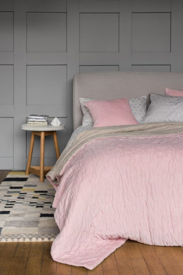 Contemporary bedroom featuring Velvet linen bedding in blush pink from Niki Jones
