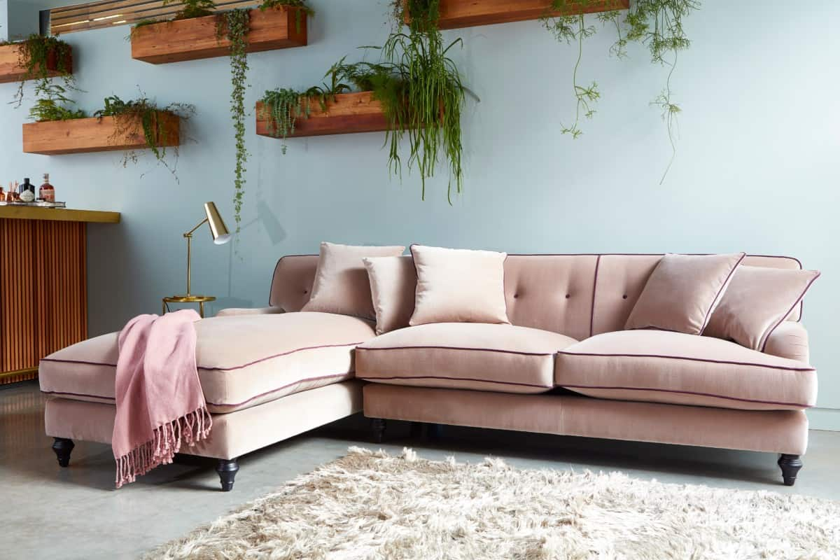 Pink corner group velvet sofas by Darlings of Chelsea