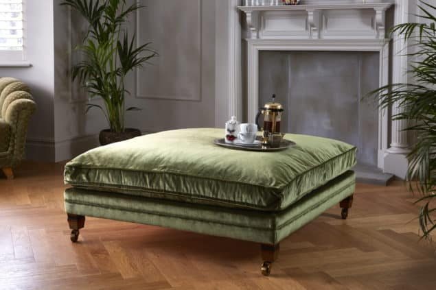 Traditional British green velvet sofas footstool by Darlings of Chelsea