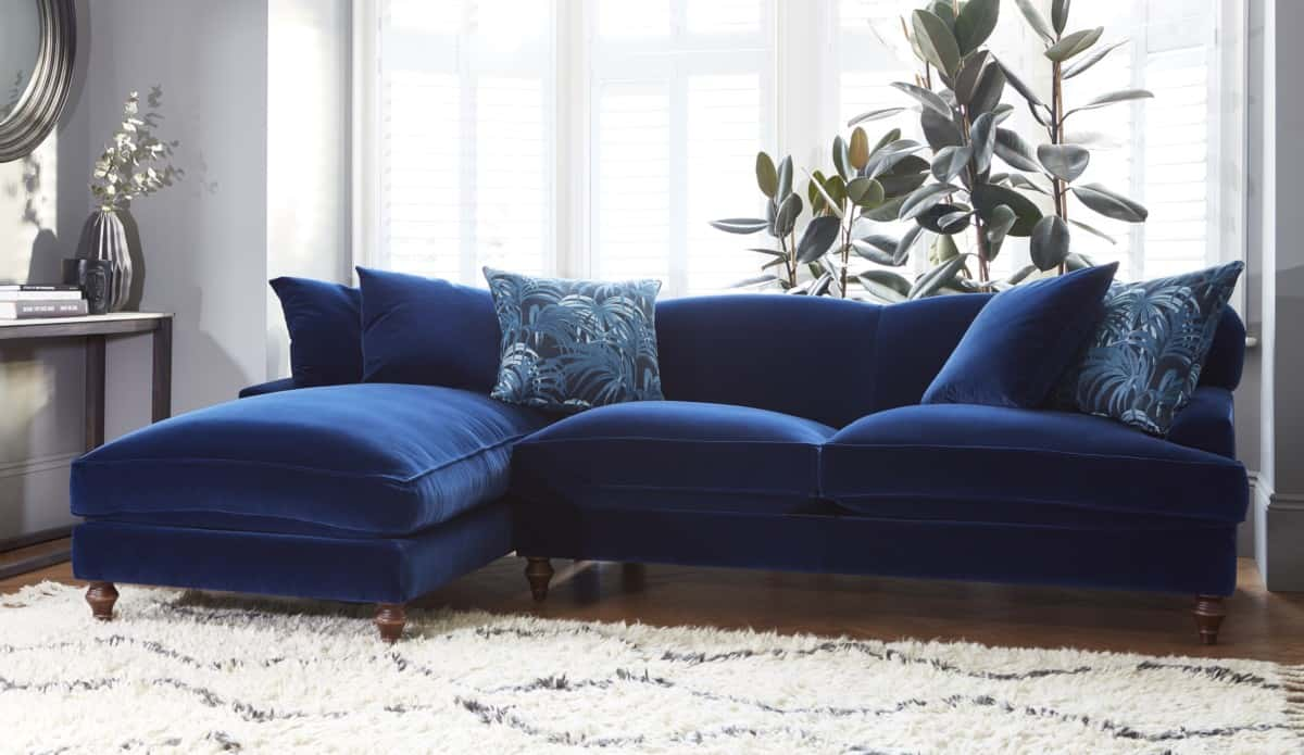 Blue chaise velvet sofas by Darlings of chelsea