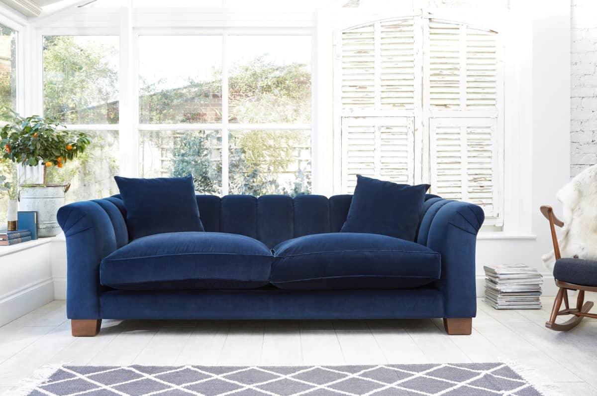 Contemporary blue velvet sofas from Darlings of Chelsea