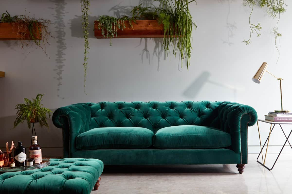 Green chesterfield velvet sofas by Darlings of Chelsea