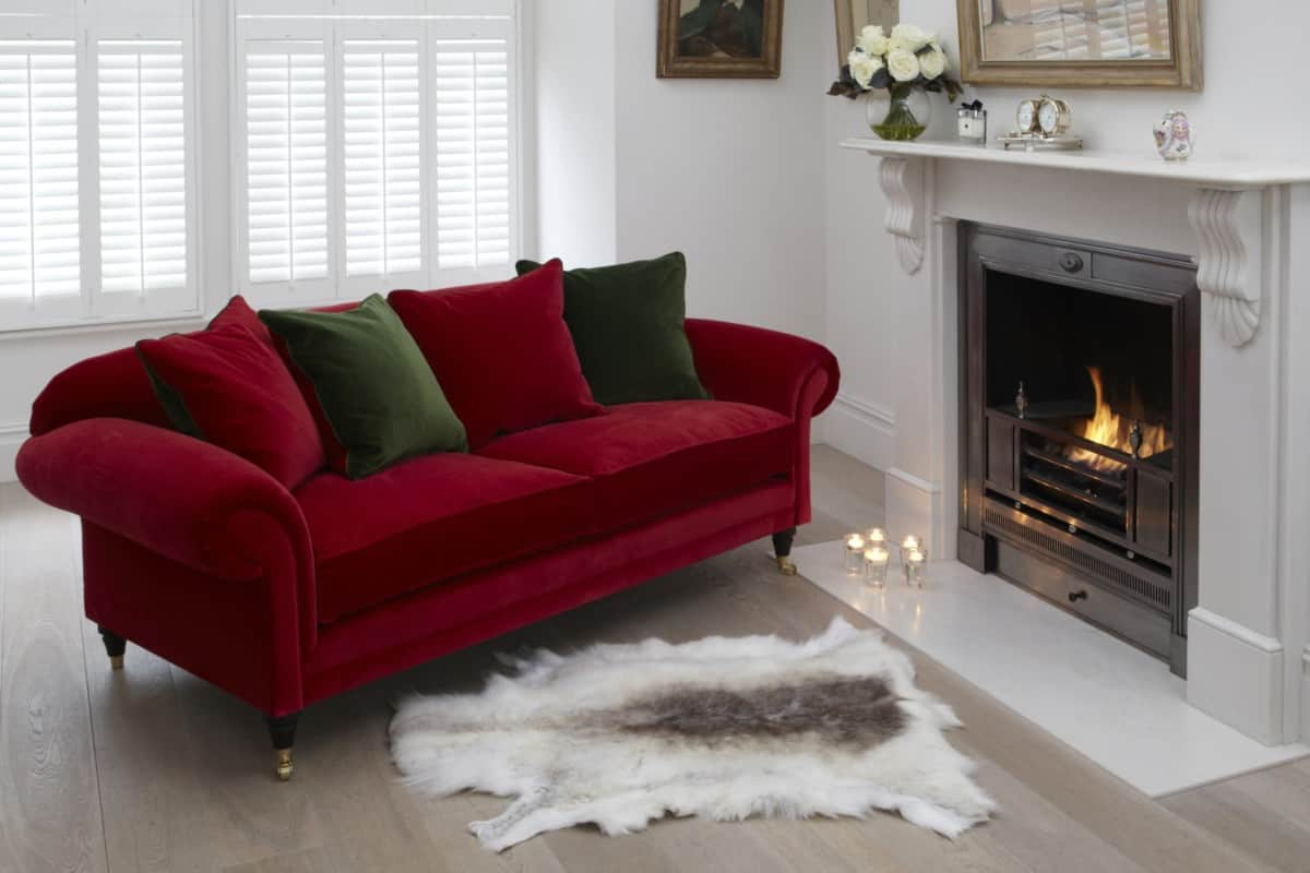 Traditional red velvet sofas from Darlings of Chelsea