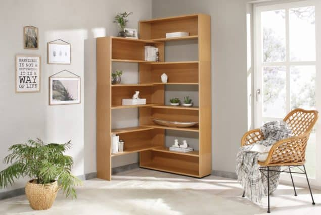 Eckhardt corner bookshelves for small spaces designed by Noook