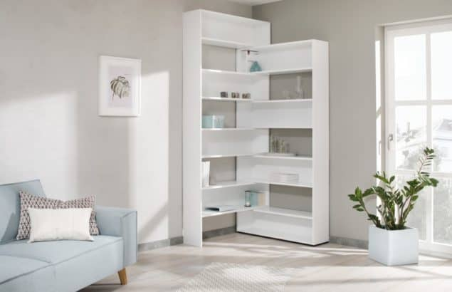 Eckhardt corner bookshelves in white for small spaces designed by Noook
