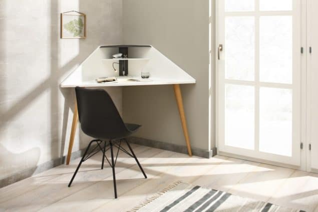 Eckretär corner desk in white for small spaces designed by Noook