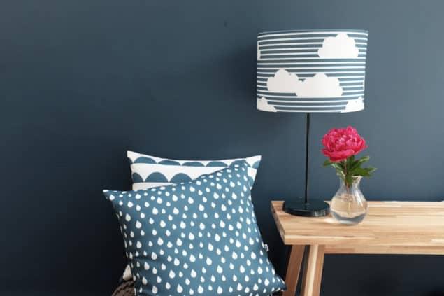 Helen Baker Home Blue cushion & lampshade designs
