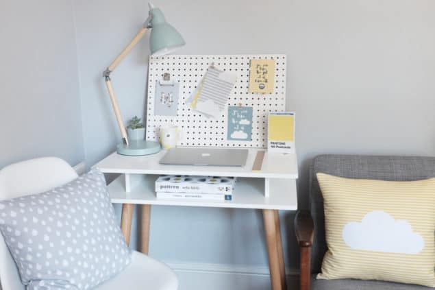 Helen Baker Home cushions and desk lifestyle
