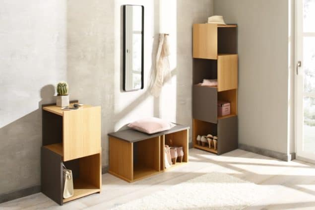 StEck cube shelving for small spaces designed by Noook