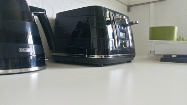 The Design Sheppard Kitchen Makeover featuring black De'Longhi kettle and toaster