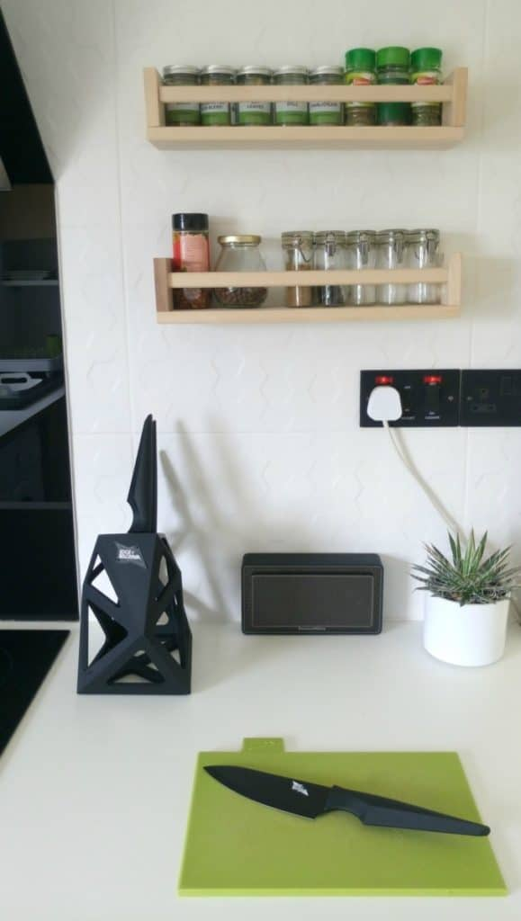 The Design Sheppard Kitchen Makeover featuring Edge of Belgravia knife block