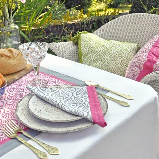 Grey and Pink napkins East London Parasols