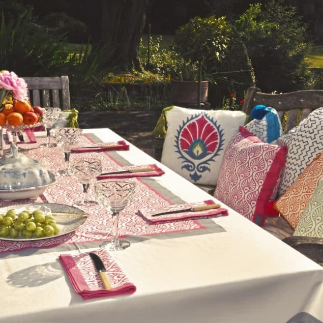 Grey pink tablecloth pink napkins East London Parasols