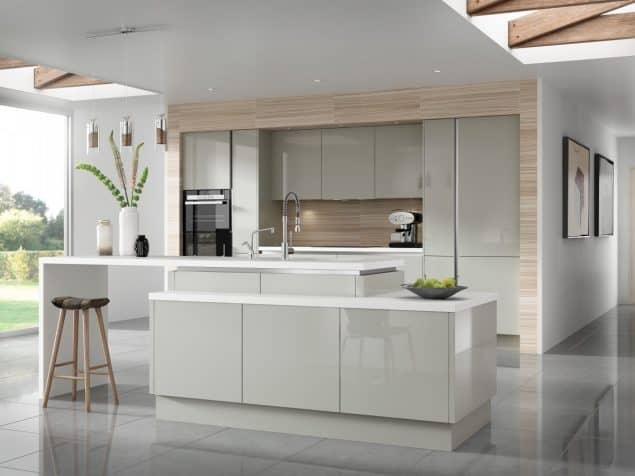 Luna Gloss Light Grey - kitchen work surface
