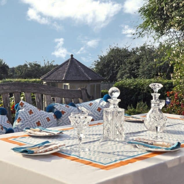 Orange and Blue tablecloth East London Parasols