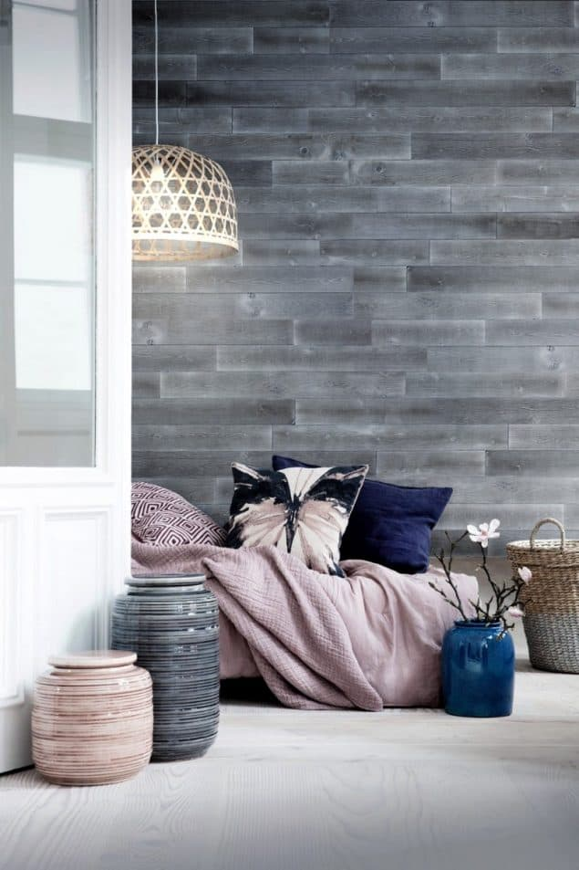 +TIMBER peel and stick wooden panels in Cloud Grey