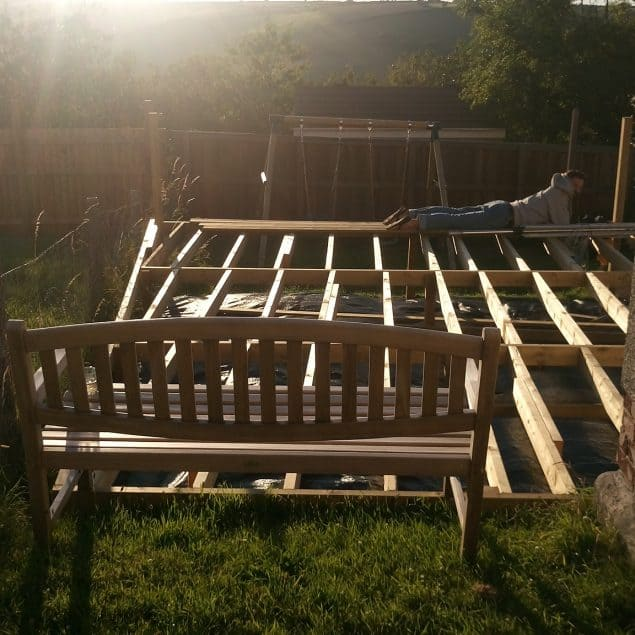 Garden Makeover featuring the finished raised decking frame