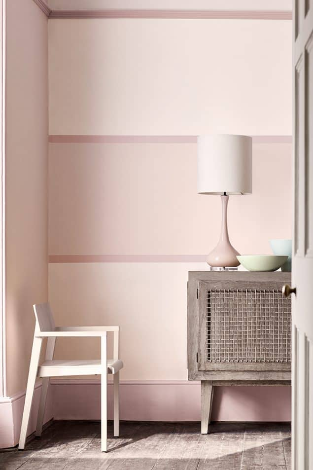 Little Greene Paint - pastel pink room with pink coloured skirting boards