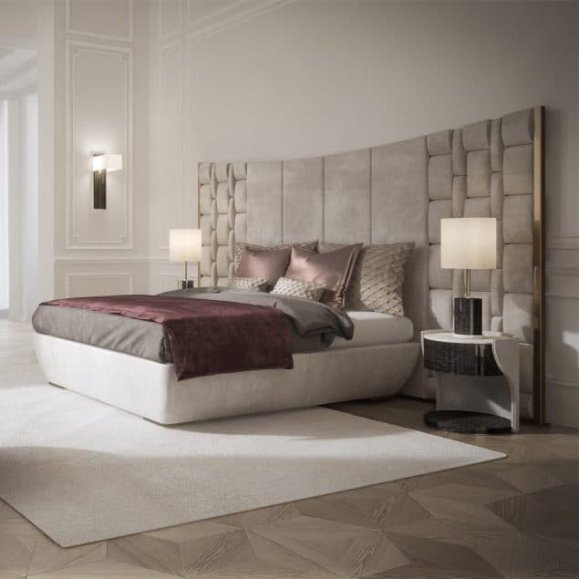 luxury bedroom featuring a contemporary Italian bed with large luxury leather headboard from Juliette's Interiors