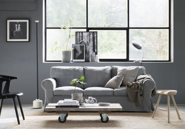 Ikea Ektorp sofa with Bemz velvet slipcovers in Zink Grey