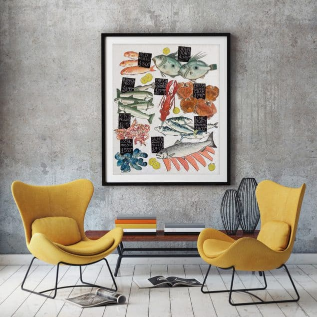 Textile Designer Jenny Evans artwork on wall behind two yellow chairs