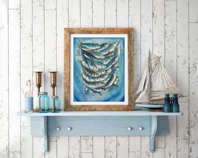 Textile Designer Jenny Evans artwork on shelf