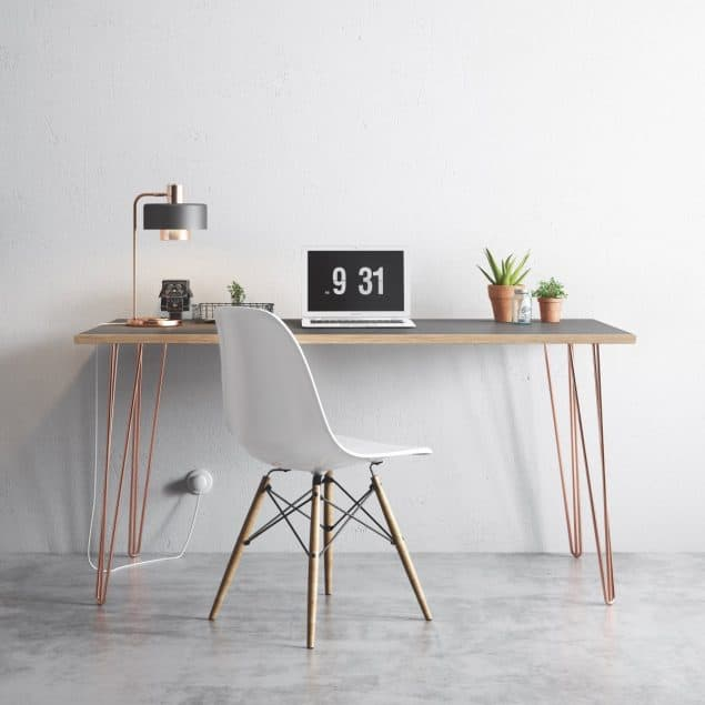 The Hairpin Leg Co Grey desk copper legs