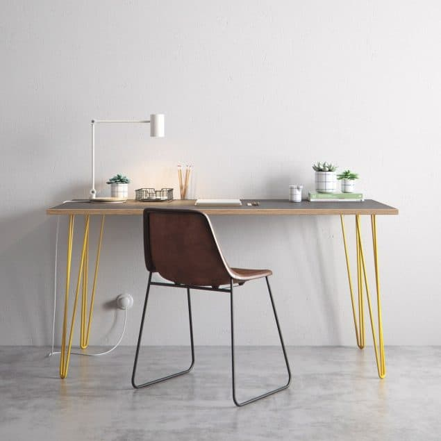 The Hairpin Leg Co Grey desk yellow legs