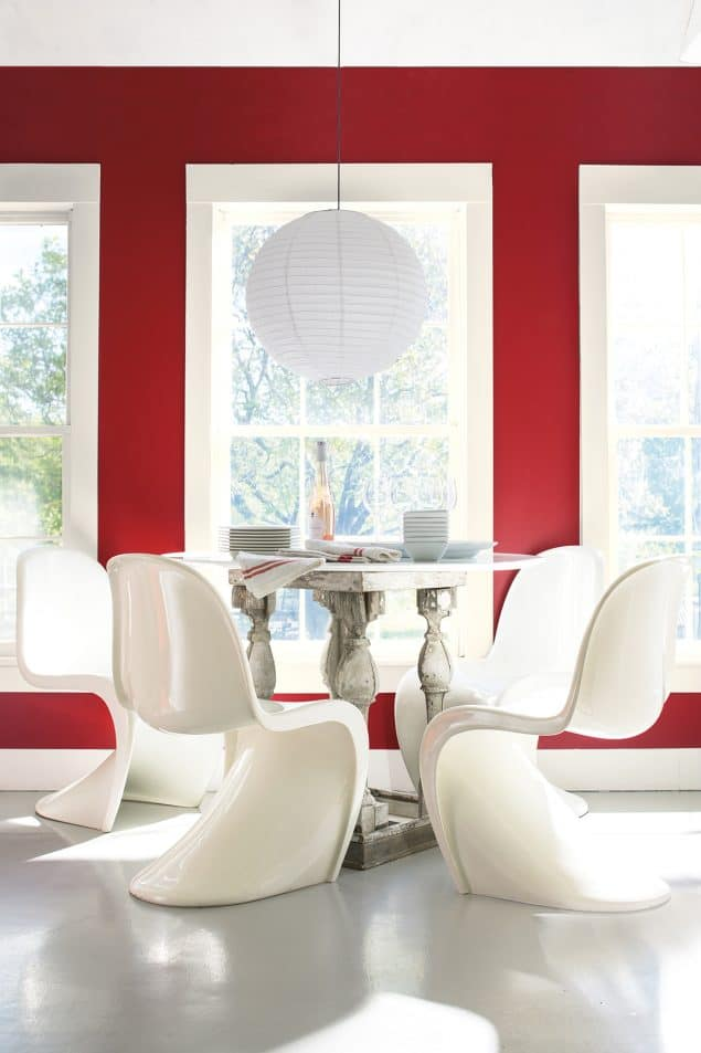 2018 Colour Trends - Benjamin Moore Caliente - Red Dining 2