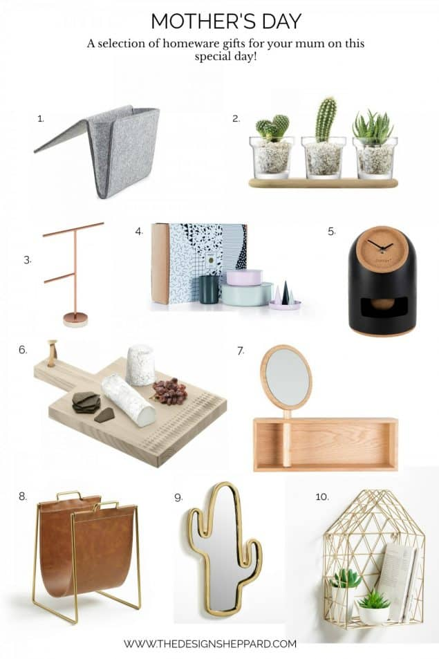 Mother's day gift guide containing a selection of homeware gifts