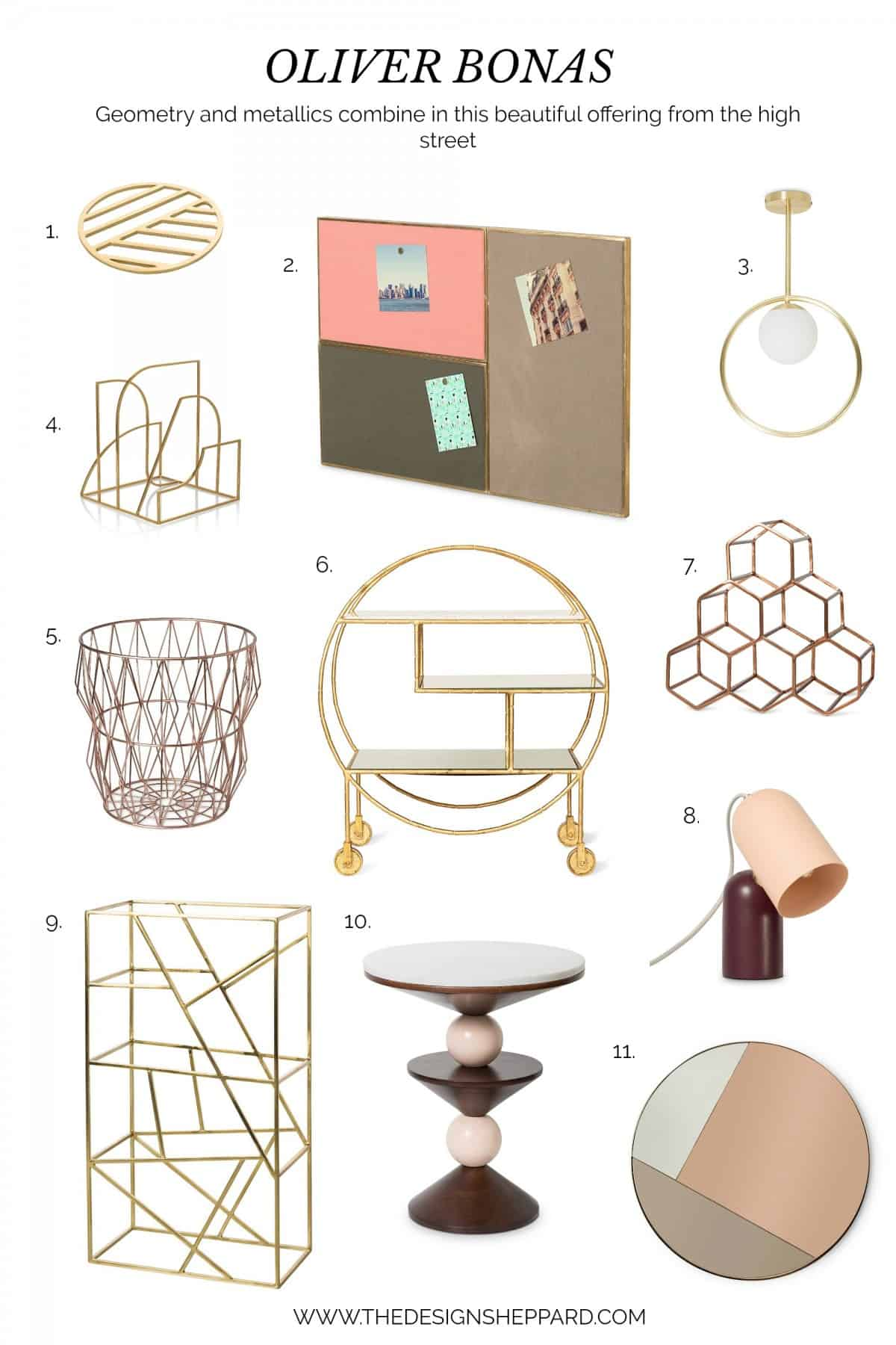 OLIVER BONAS geometric and metallic home interior products