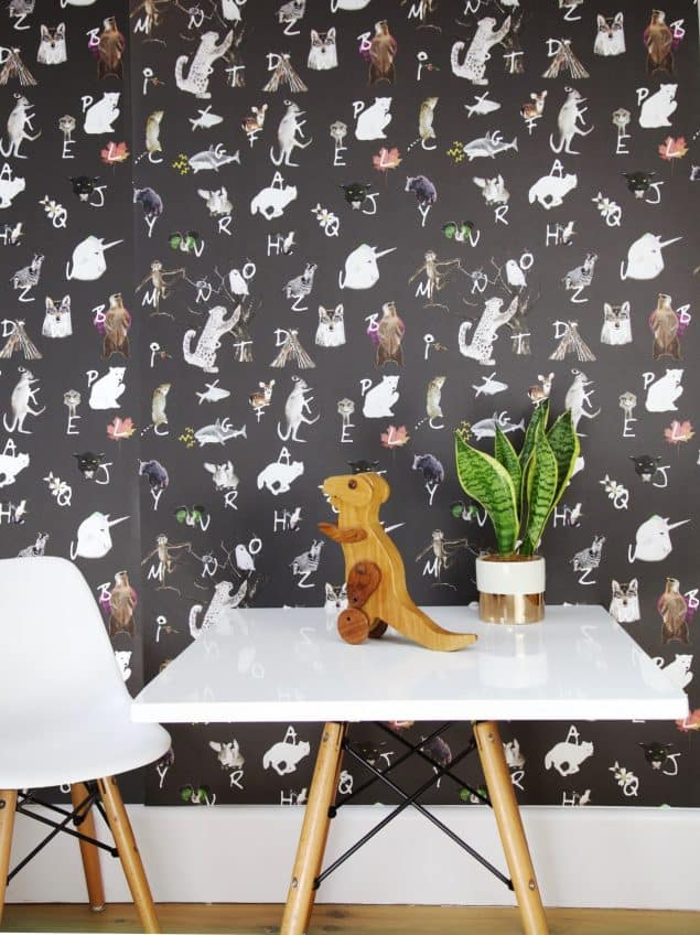 Wild Hearts Wonder A to Z Wallpaper in charcoal